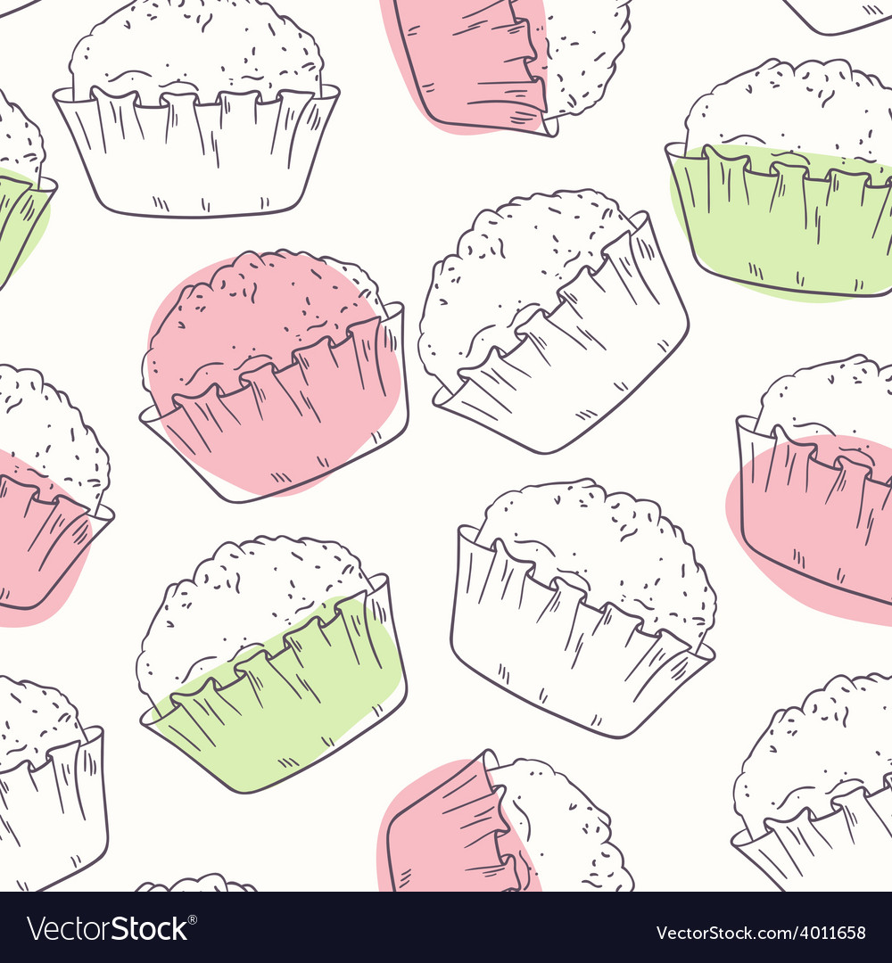 Outline seamless pattern with muffins vector | Price: 1 Credit (USD $1)
