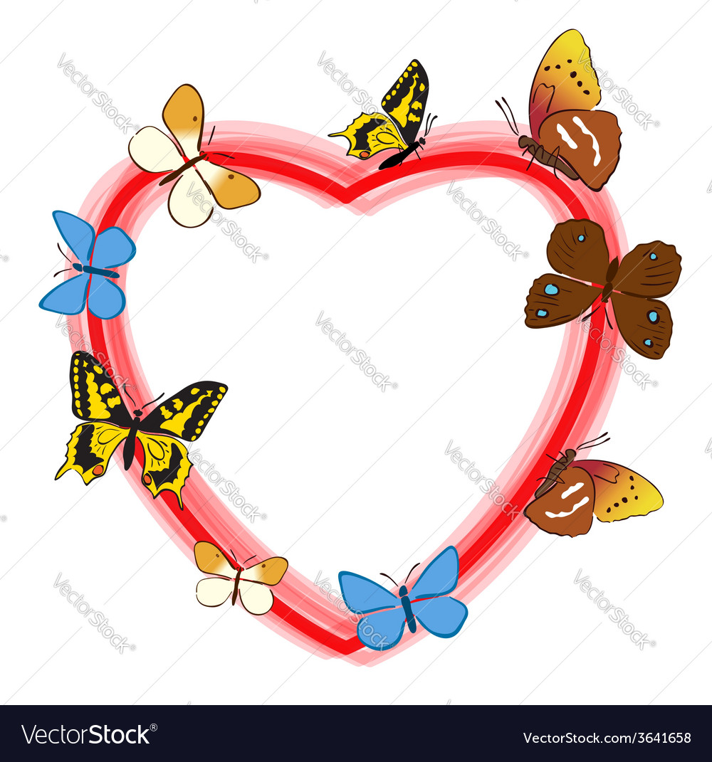 Red heart with color butterflies - frame vector | Price: 1 Credit (USD $1)