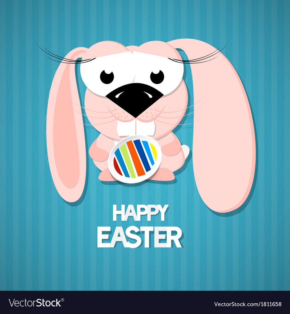 Retro easter paper background cute pink rabbit vector   Price: 1 Credit (USD $1)