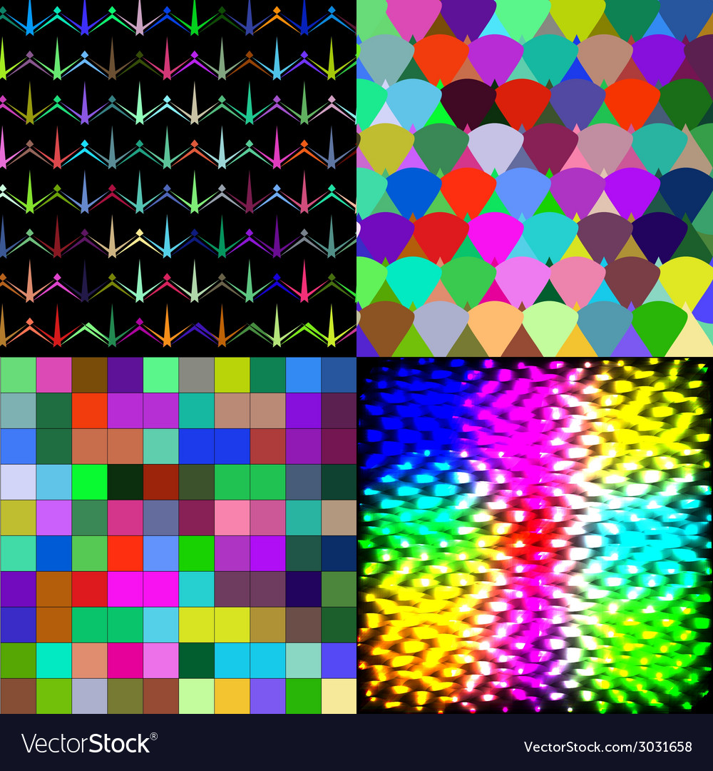 Set of abstract rainbow colorful tiles mosaic vector | Price: 1 Credit (USD $1)
