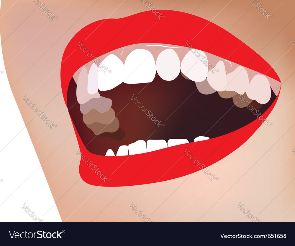 White teeth smile red lip vector | Price: 1 Credit (USD $1)