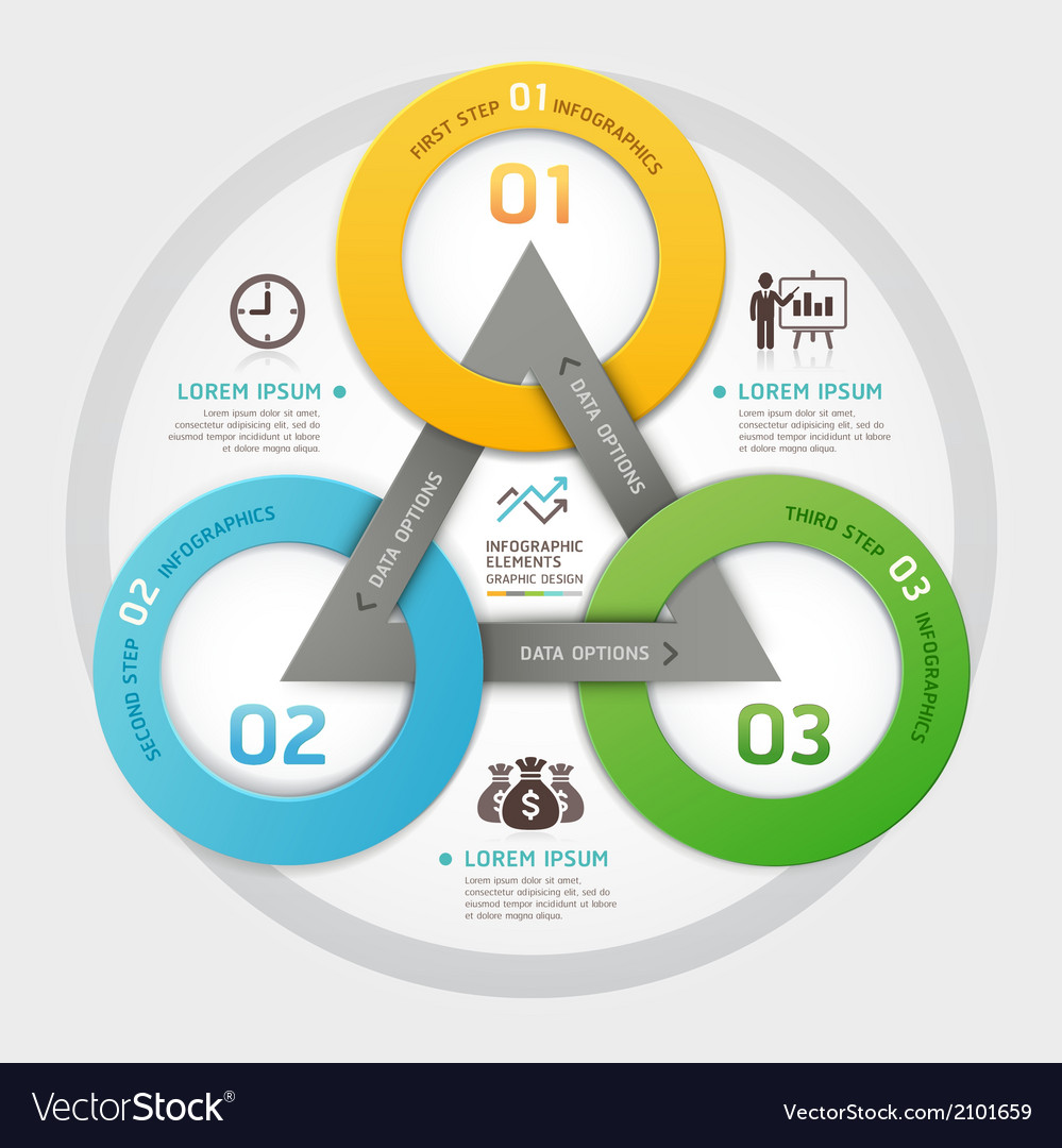 Business management circle origami style vector | Price: 1 Credit (USD $1)