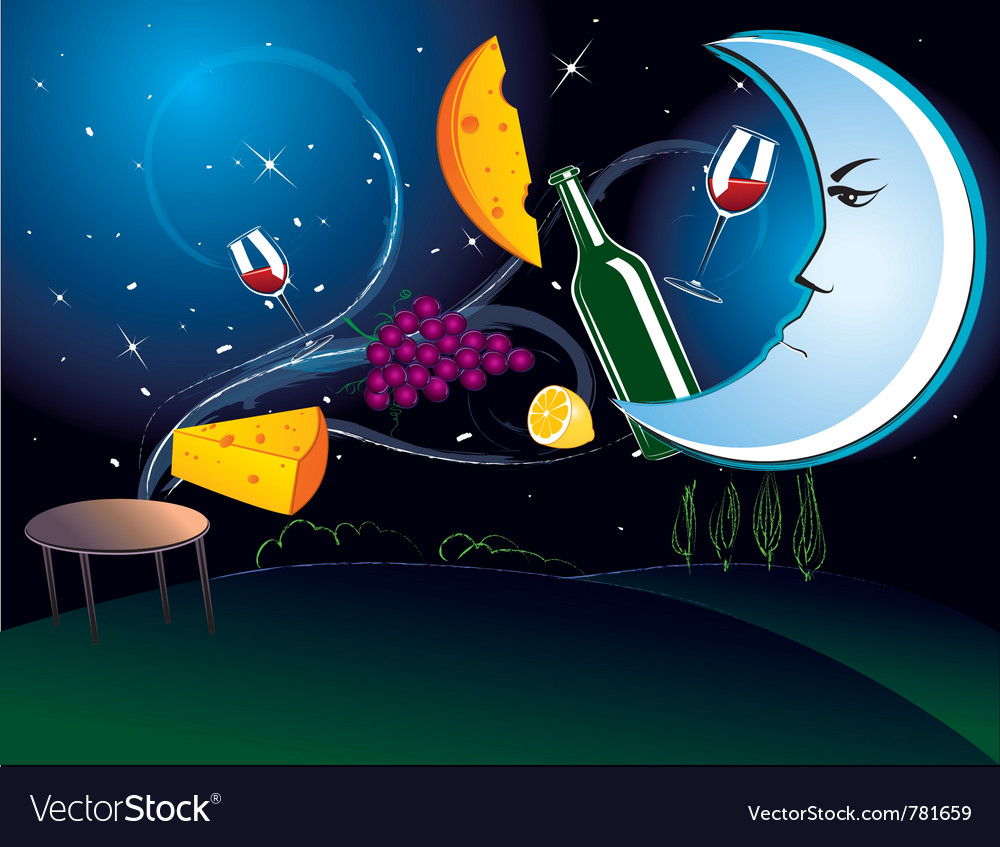 Dinner in the moonlight vector | Price: 3 Credit (USD $3)