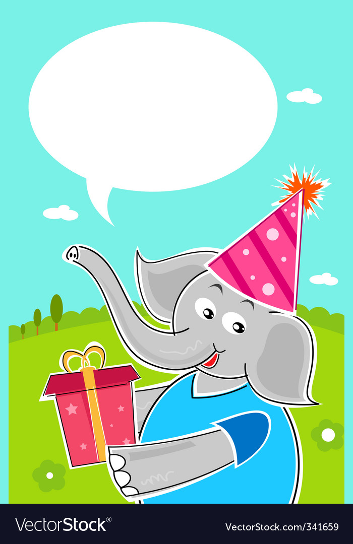 Elephant with birthday gift vector | Price: 1 Credit (USD $1)
