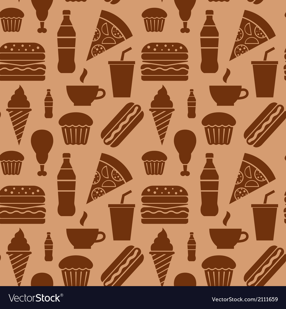 Fastfood pattern brown vector | Price: 1 Credit (USD $1)