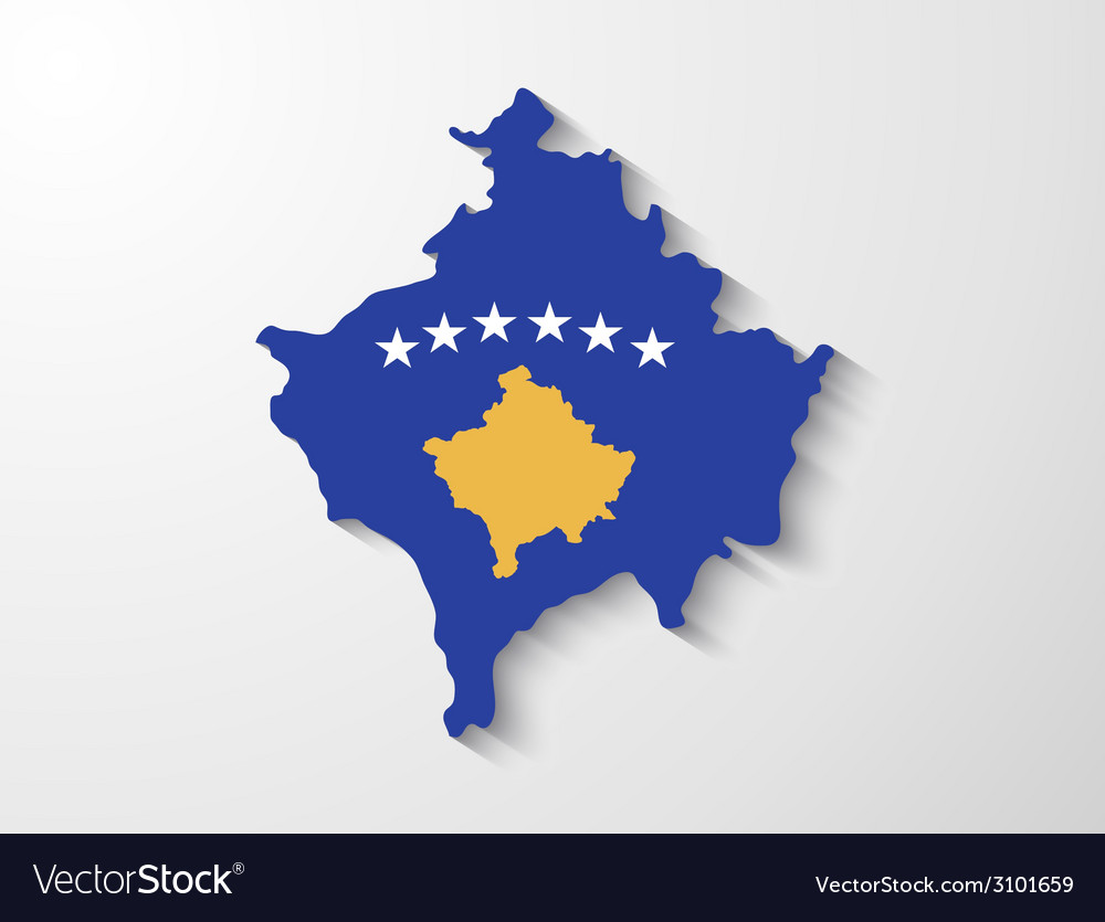 Kosovo country map with shadow effect presentation vector | Price: 1 Credit (USD $1)