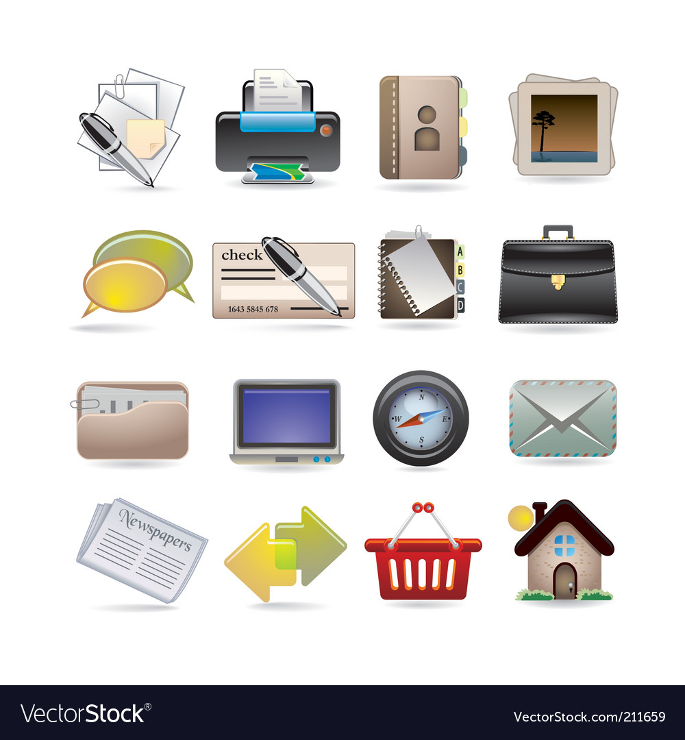 Online business icon set vector | Price: 3 Credit (USD $3)