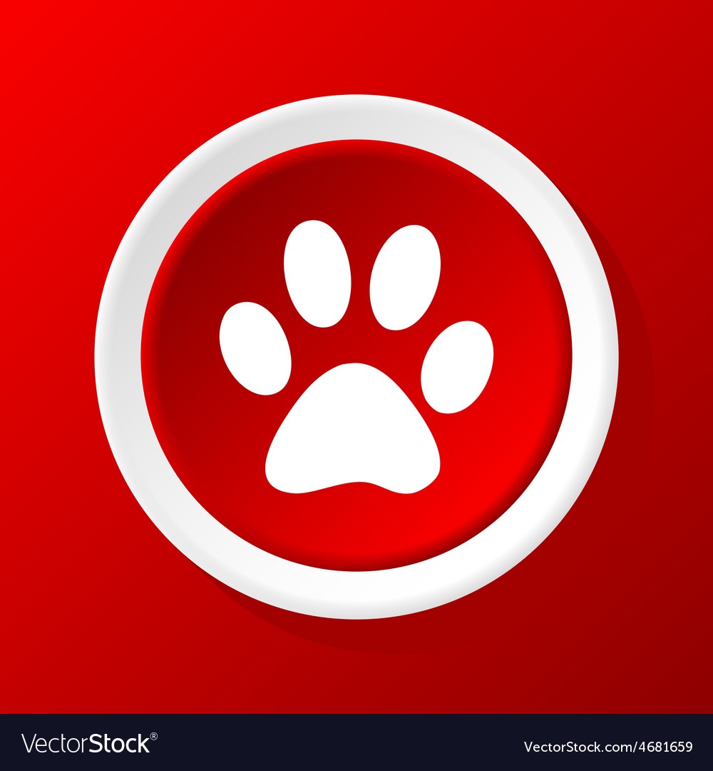 Paw icon on red vector | Price: 1 Credit (USD $1)