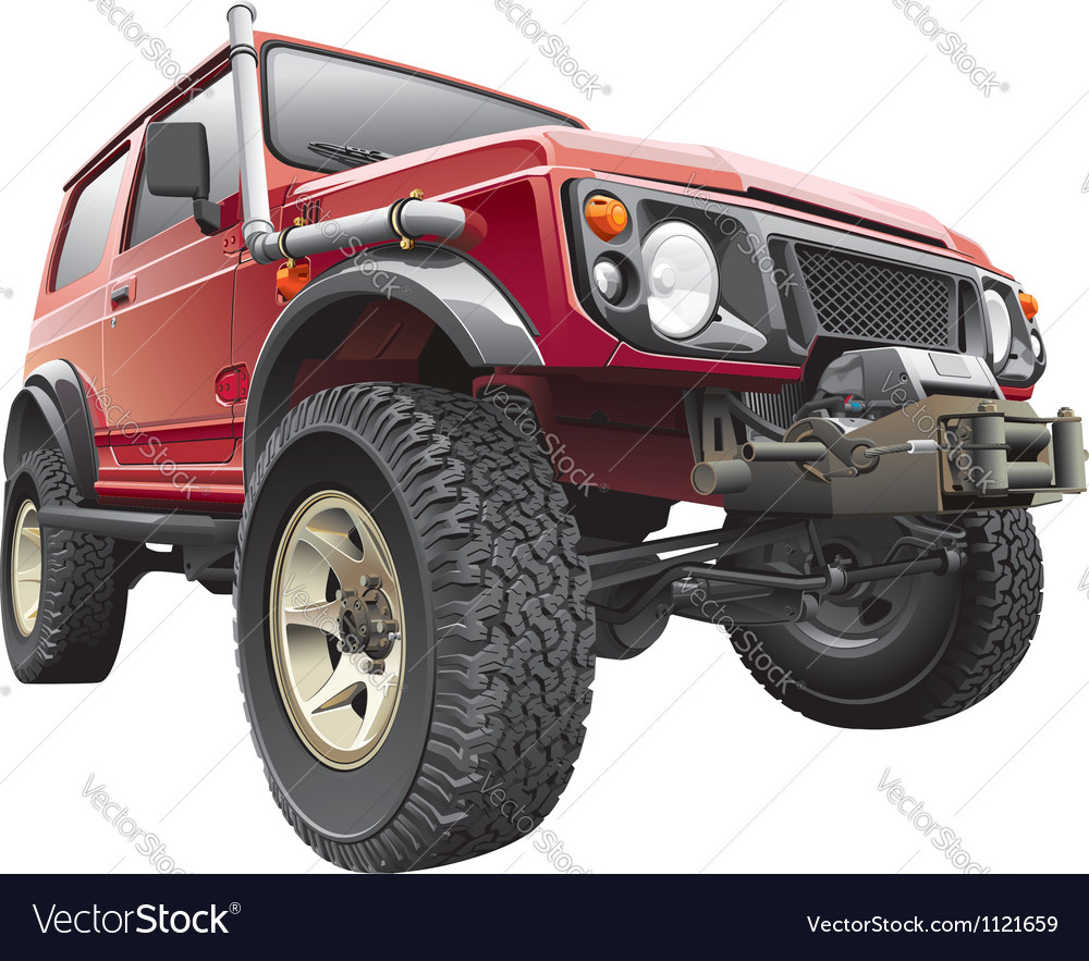 Red rally jeep vector | Price: 5 Credit (USD $5)