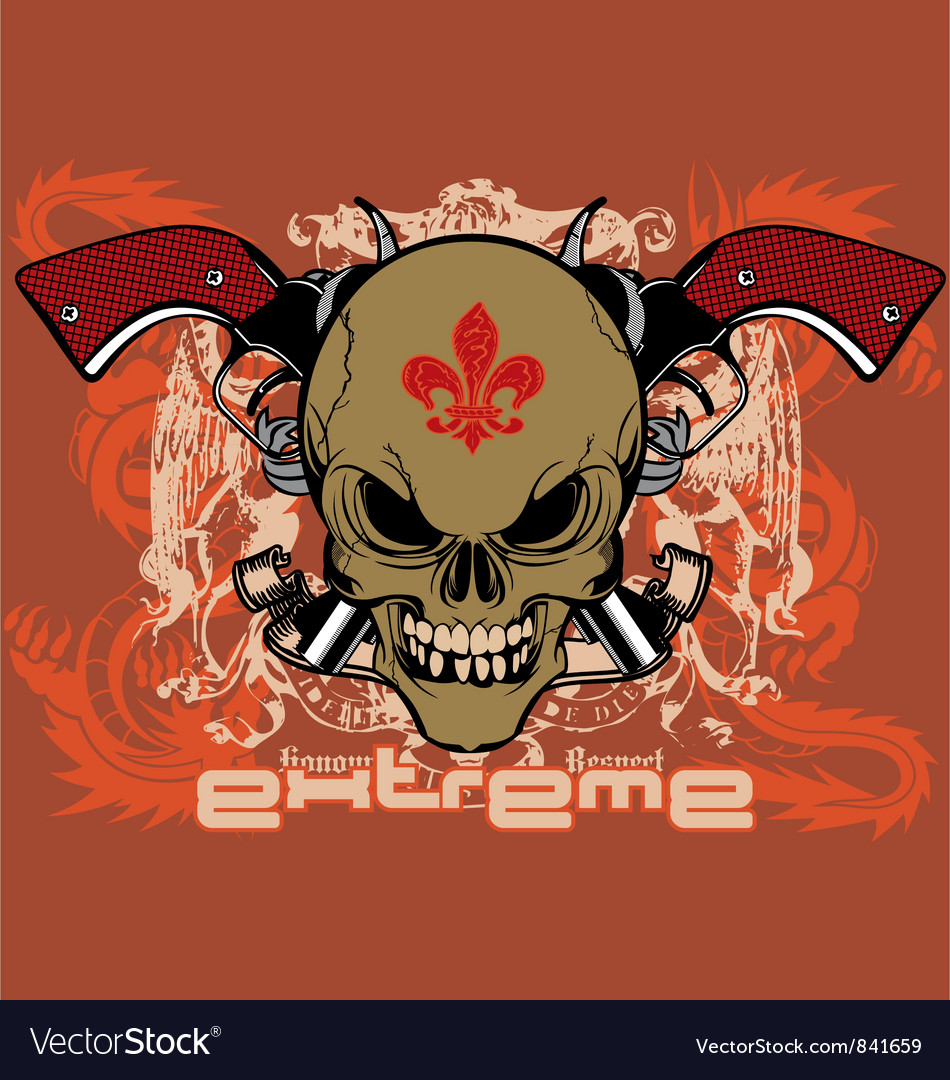 Ribbon skull gun vector | Price: 3 Credit (USD $3)