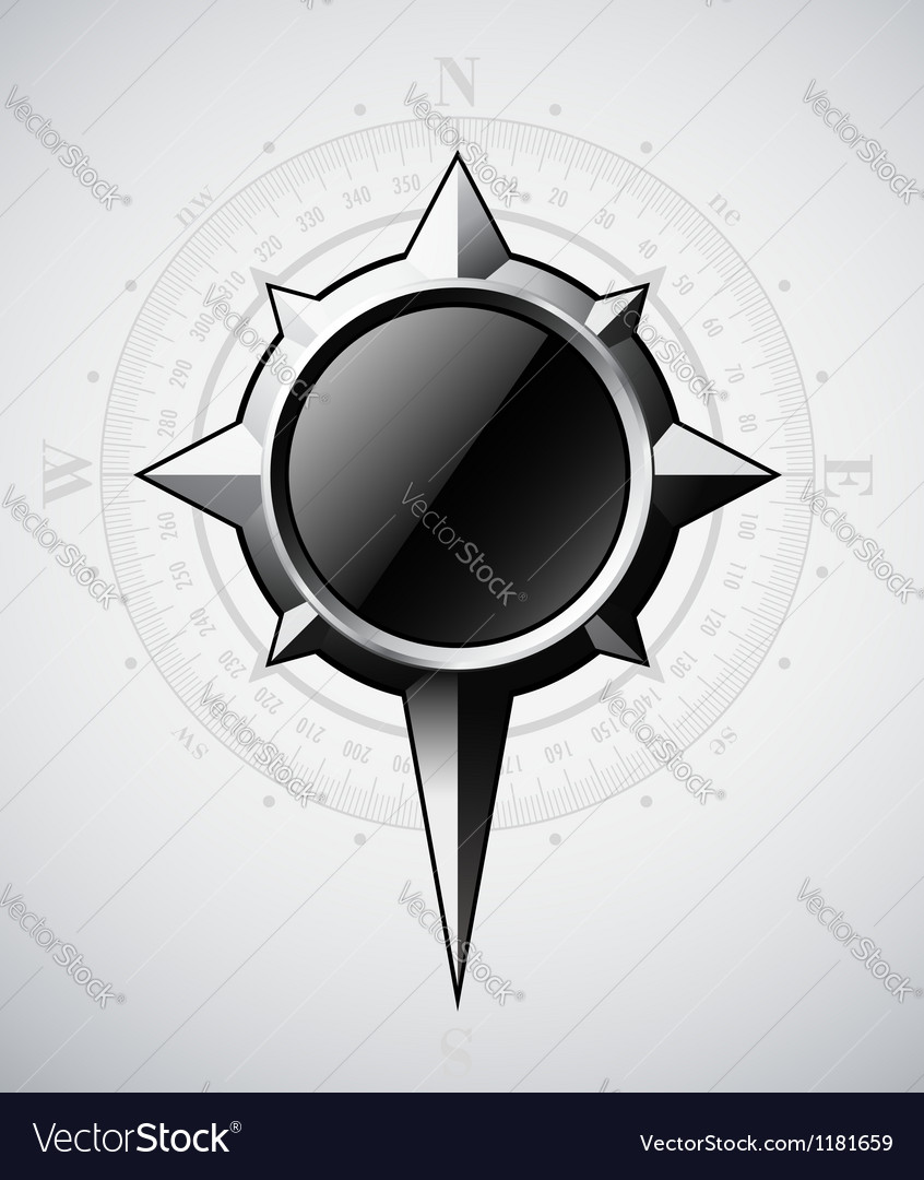 Steel compass rose with scale vector | Price: 1 Credit (USD $1)