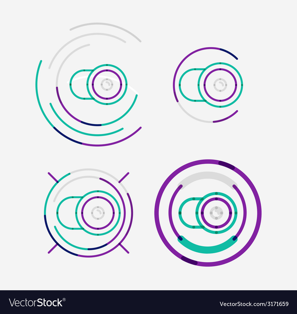 Thin line neat design logo set camera concept vector | Price: 1 Credit (USD $1)