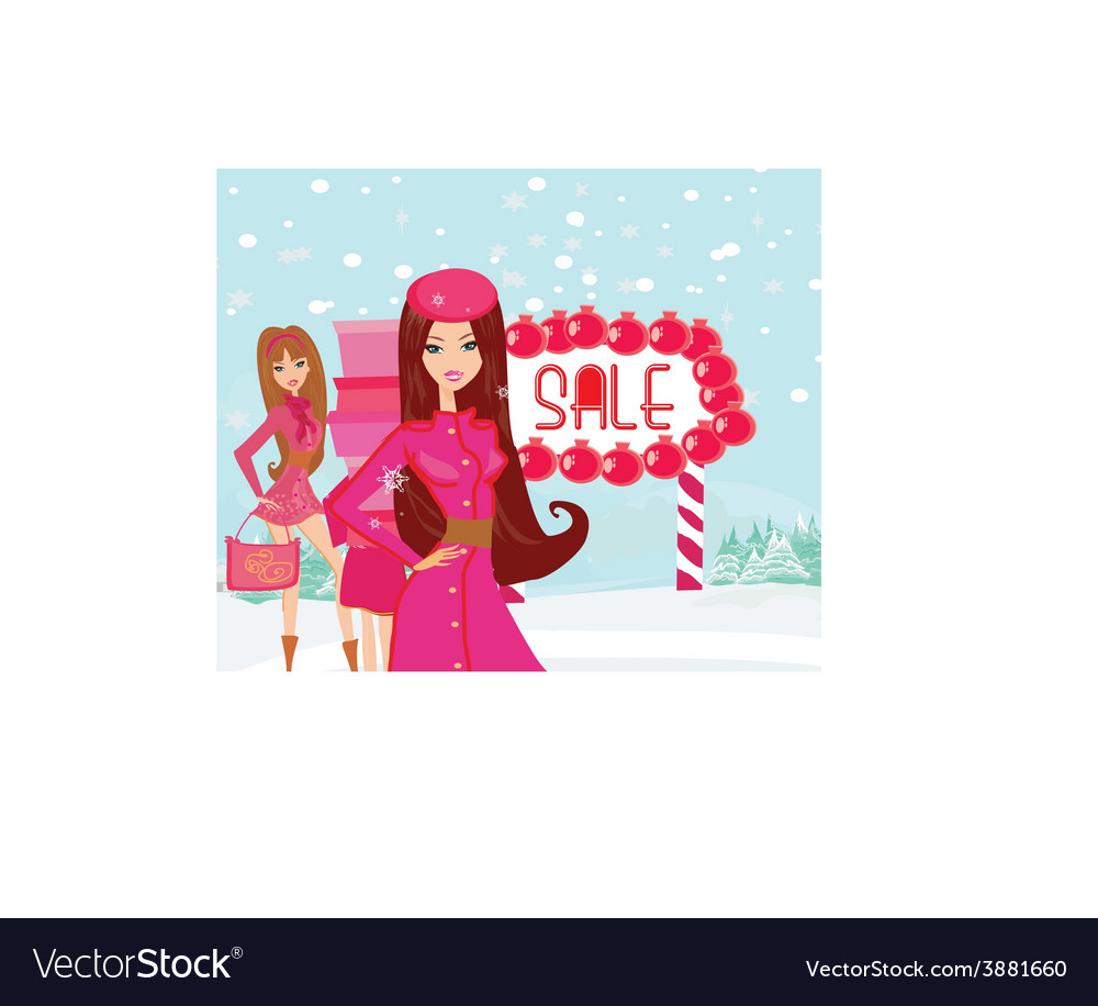 Beautiful girls on winter shopping vector | Price: 1 Credit (USD $1)