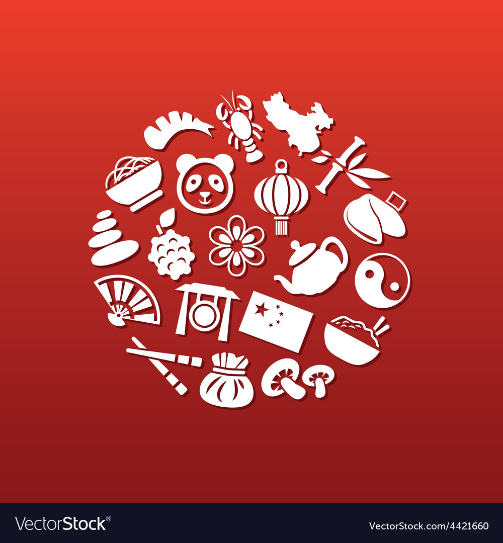 China icons in circle vector | Price: 1 Credit (USD $1)