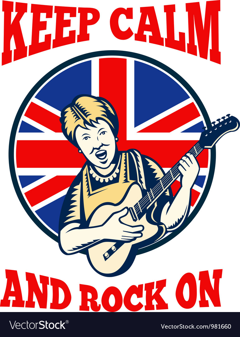 Keep calm rock on british flag queen granny guitar vector | Price: 3 Credit (USD $3)