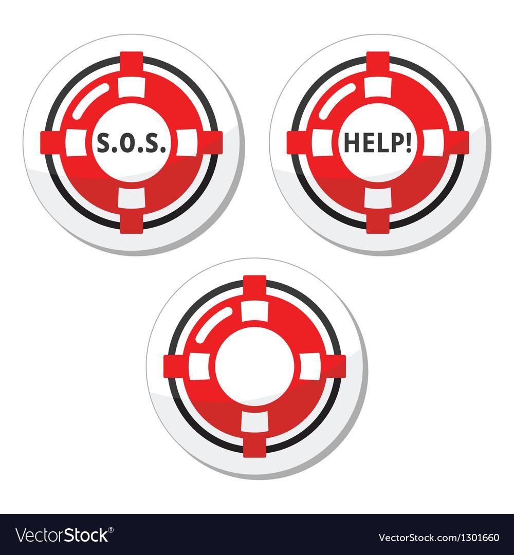 Life belt help icons set vector | Price: 1 Credit (USD $1)