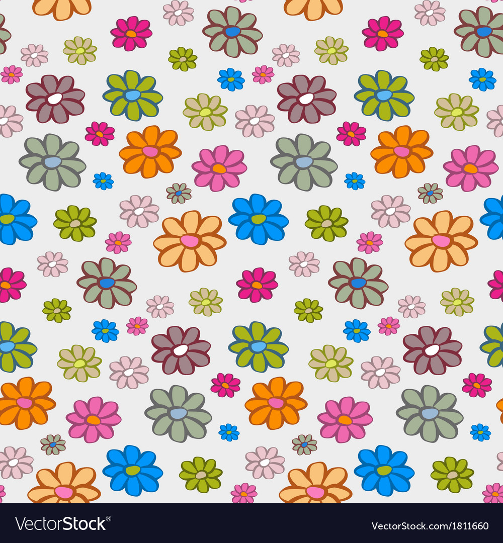 Retro flowers seamless pattern background vector | Price: 1 Credit (USD $1)