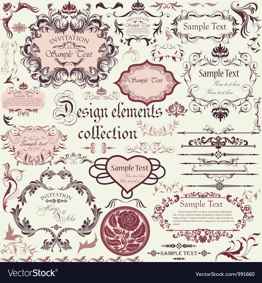 Set of calligraphic design elements and floral vector | Price: 1 Credit (USD $1)