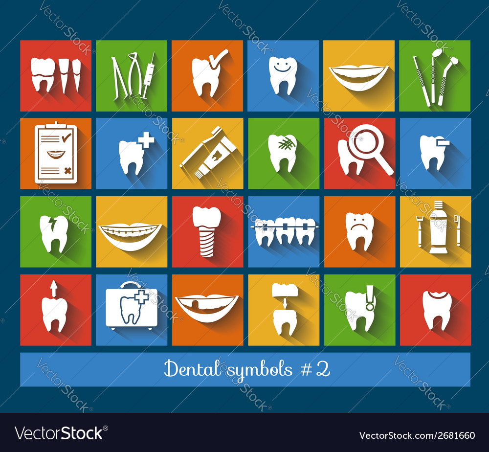 Set of dentistry symbols part 2 vector | Price: 1 Credit (USD $1)