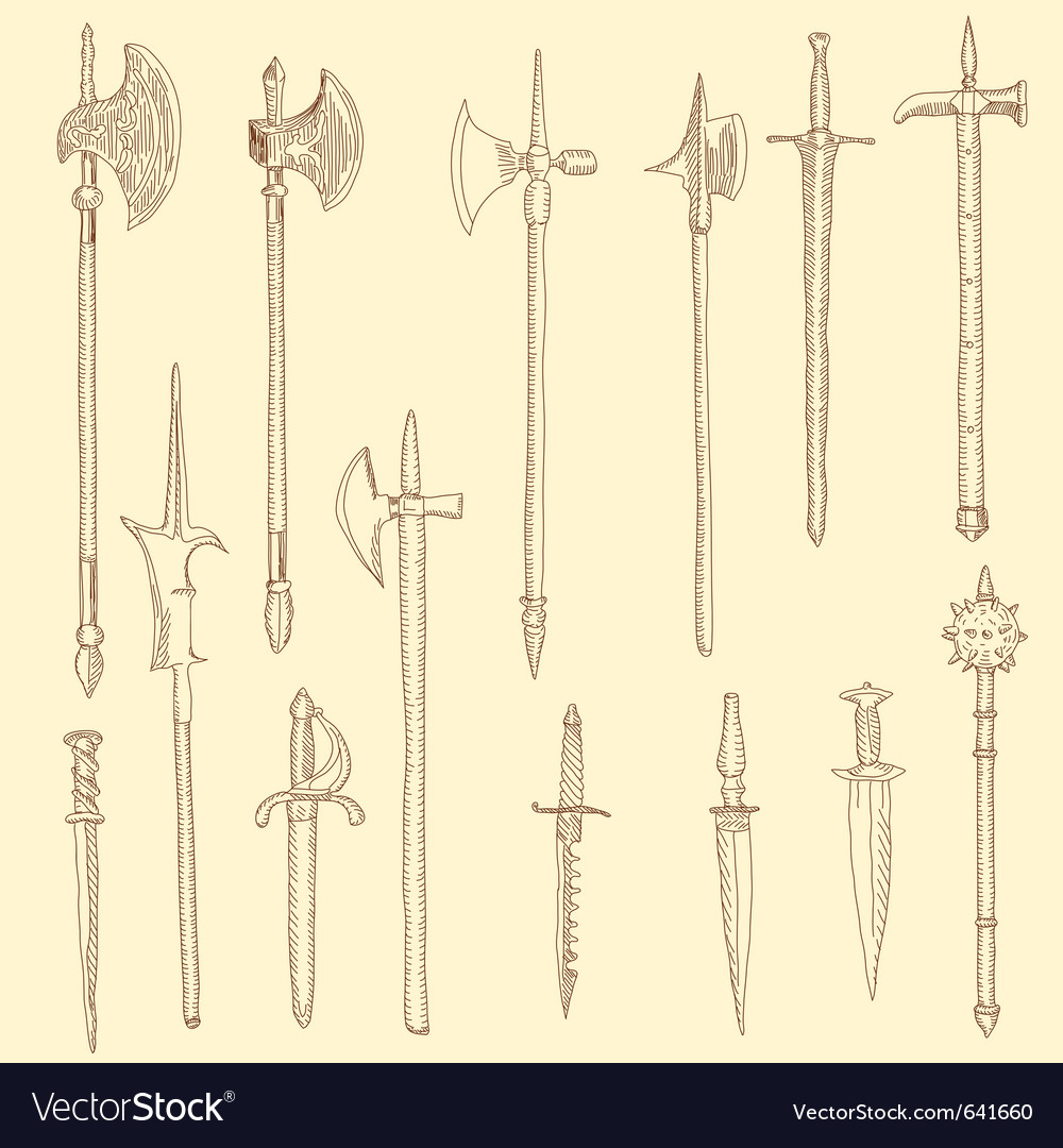 Weapon collection medieval weapons vector | Price: 1 Credit (USD $1)