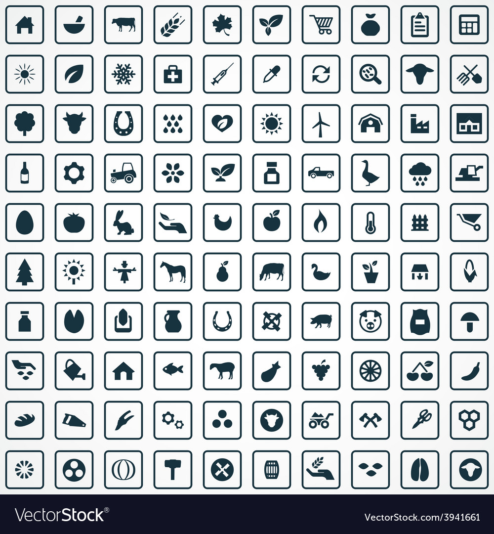 100 agriculture farm icons set vector | Price: 1 Credit (USD $1)