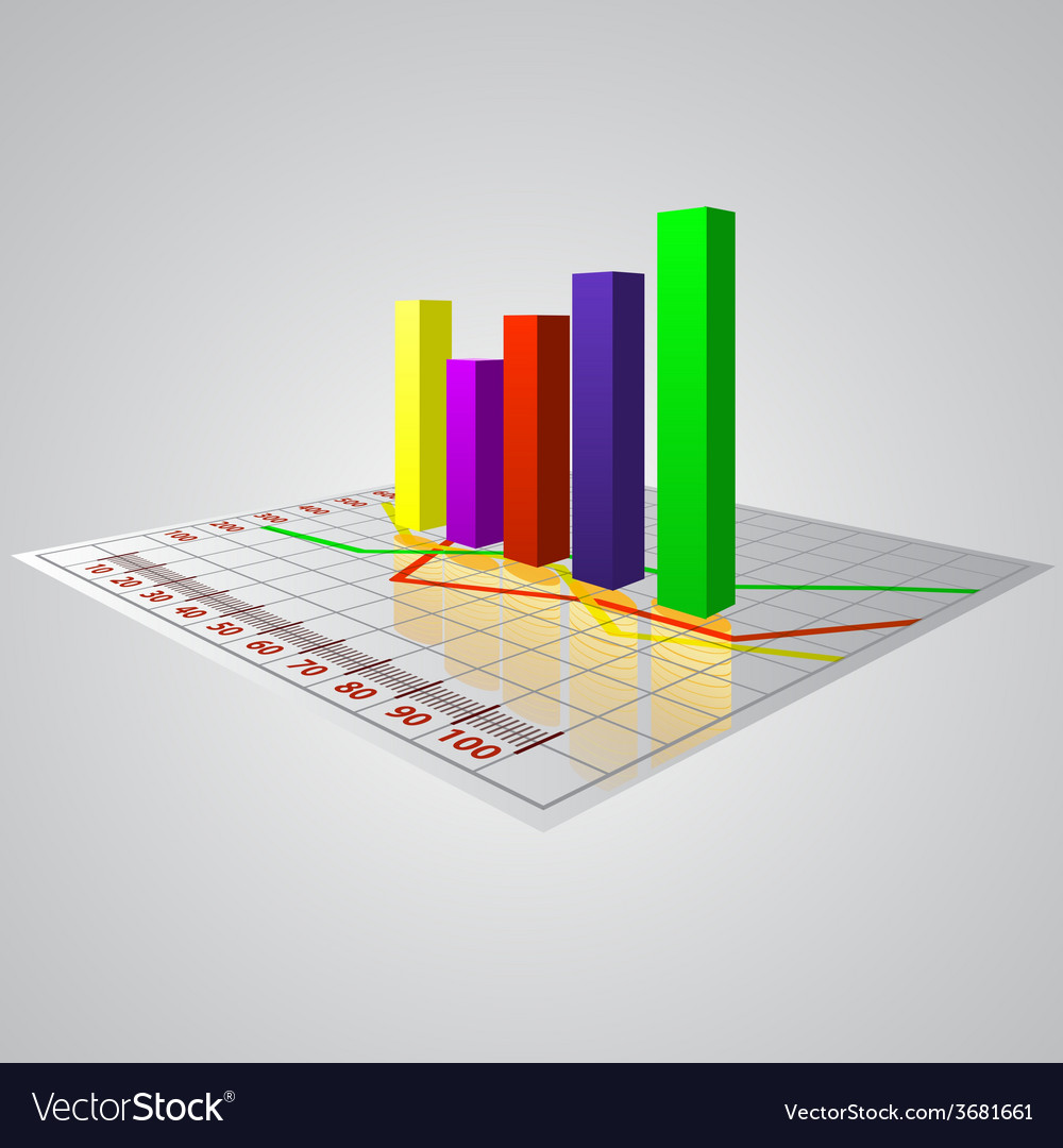 Abstract 3d business diagram with reflection of vector | Price: 1 Credit (USD $1)