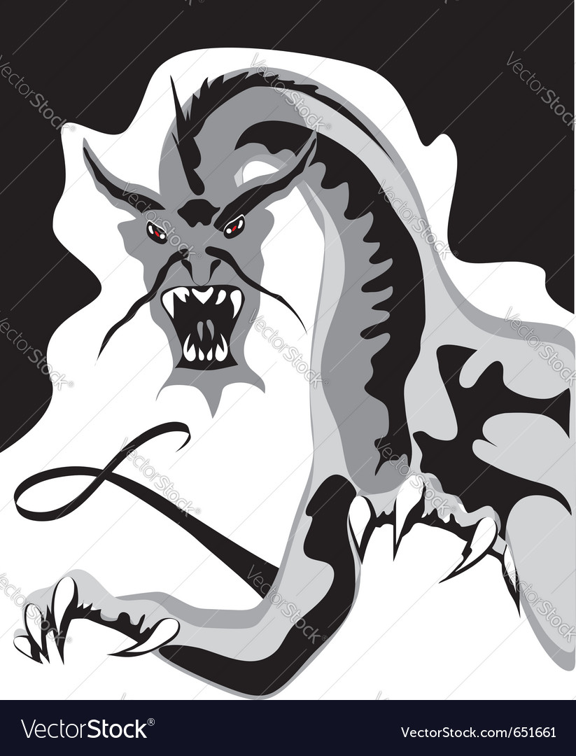 Aggressive black dragon vector | Price: 1 Credit (USD $1)