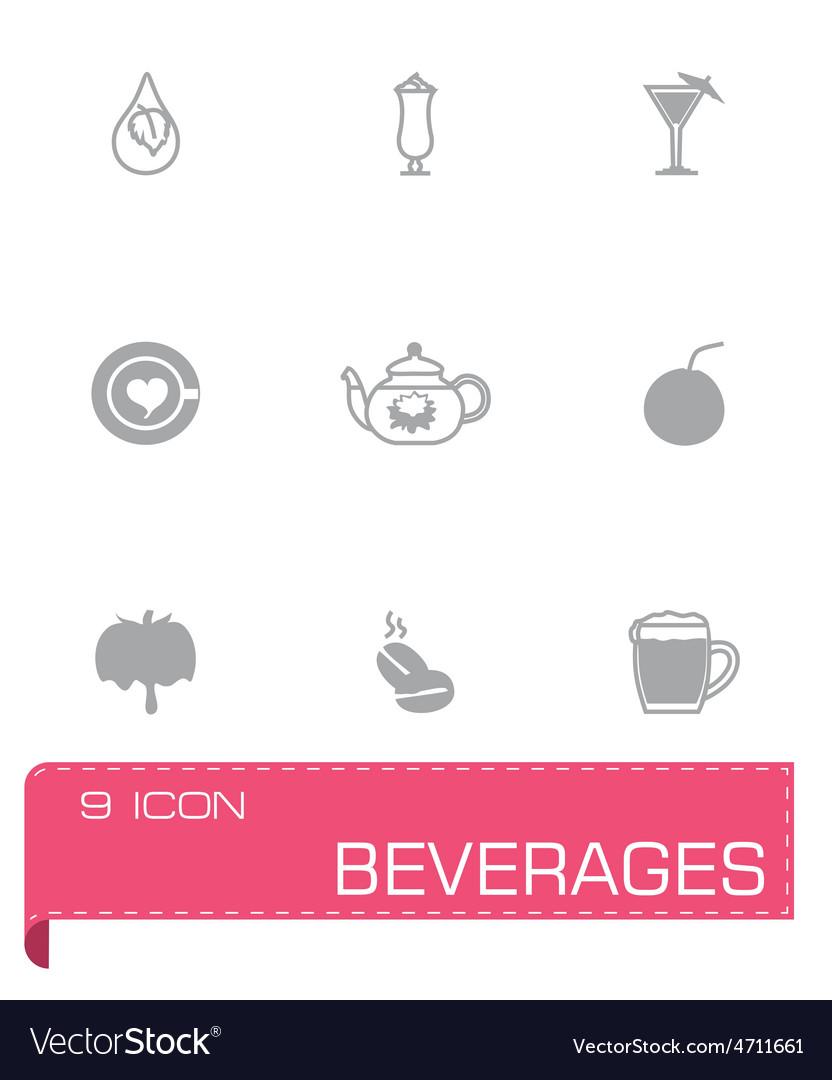 Beverages icon set vector | Price: 1 Credit (USD $1)
