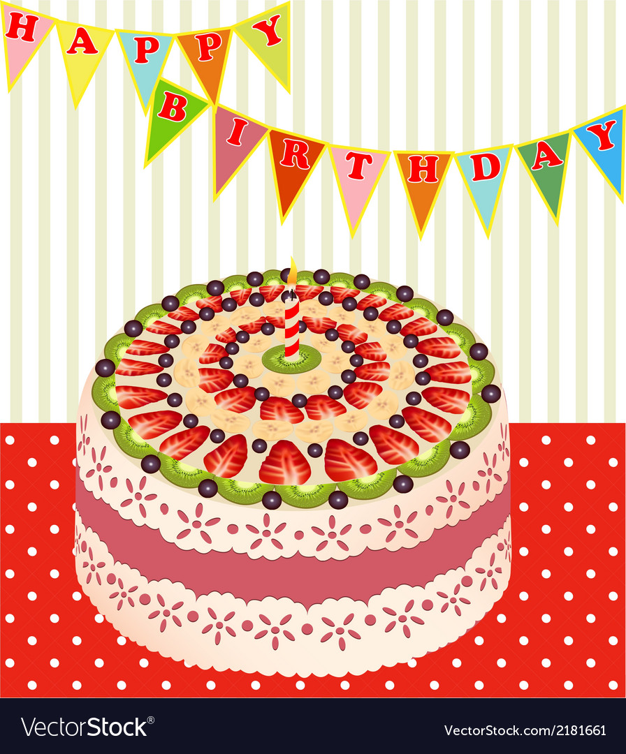 Birthday cake with kiwi vector | Price: 1 Credit (USD $1)