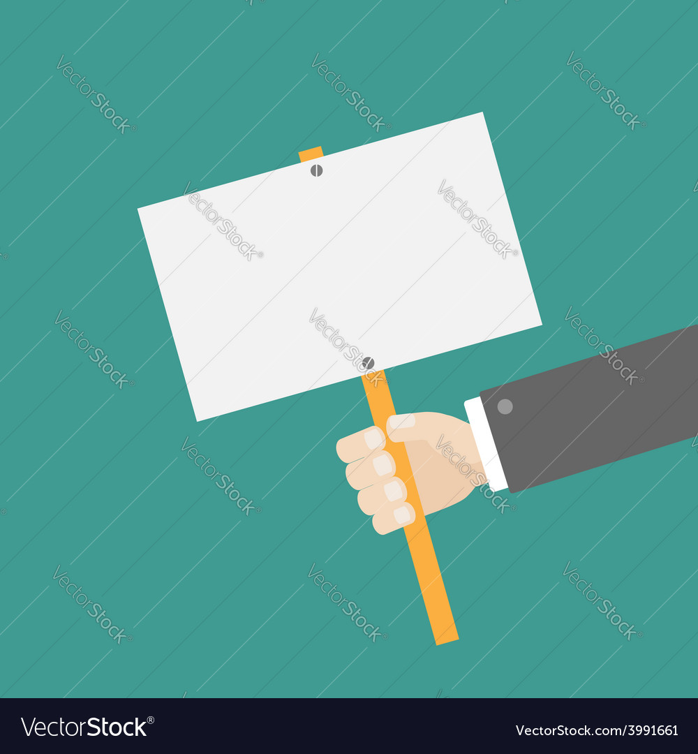Businessman hand holding empty paper blank sign vector | Price: 1 Credit (USD $1)