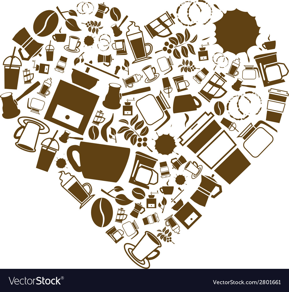 Coffee heart vector | Price: 1 Credit (USD $1)