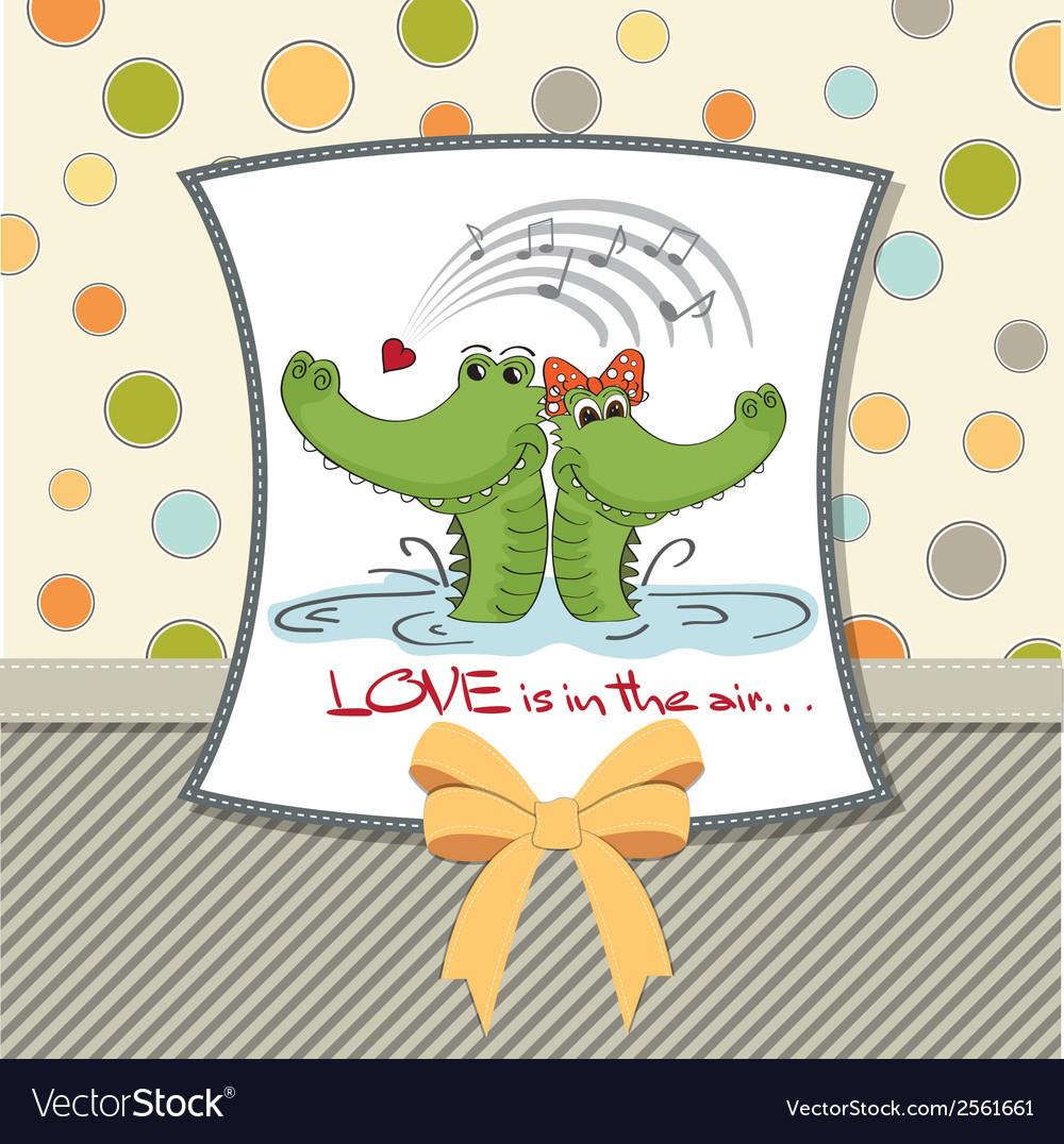 Crocodiles in lovevalentines day card vector | Price: 1 Credit (USD $1)