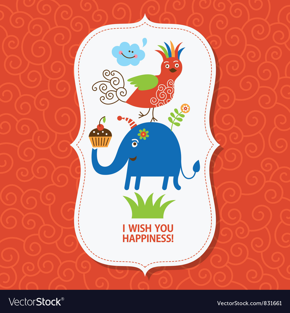 Cute greeting children card vector | Price: 3 Credit (USD $3)