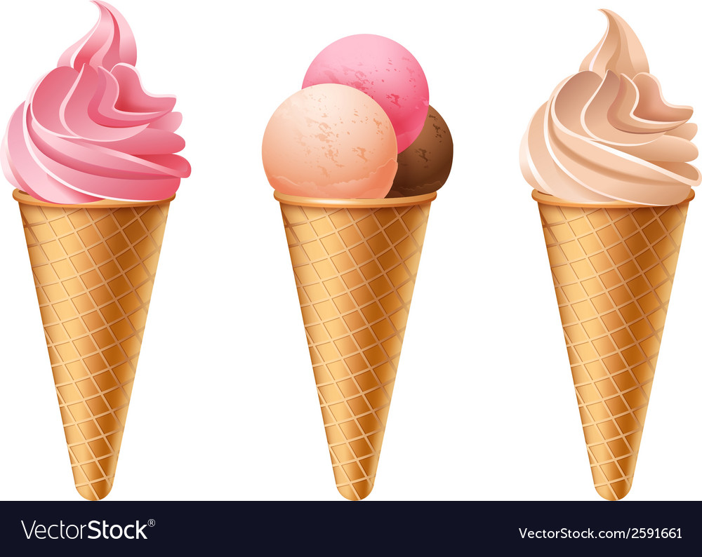 Ice cream cones vector | Price: 1 Credit (USD $1)