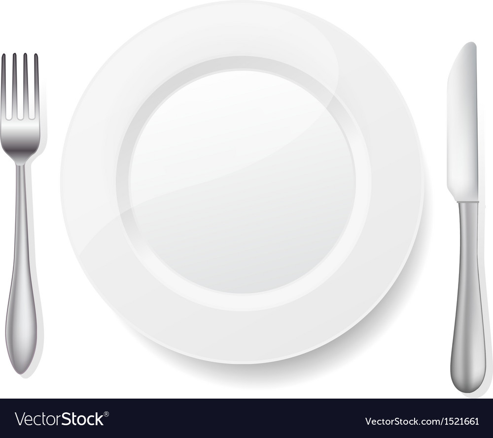 Knife fork white plate vector | Price: 1 Credit (USD $1)