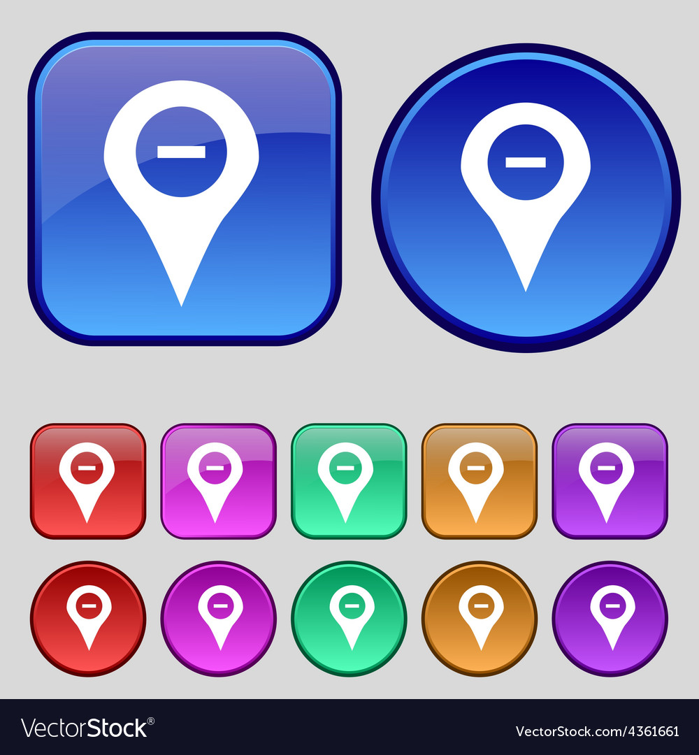Minus map pointer gps location icon sign a set of vector | Price: 1 Credit (USD $1)