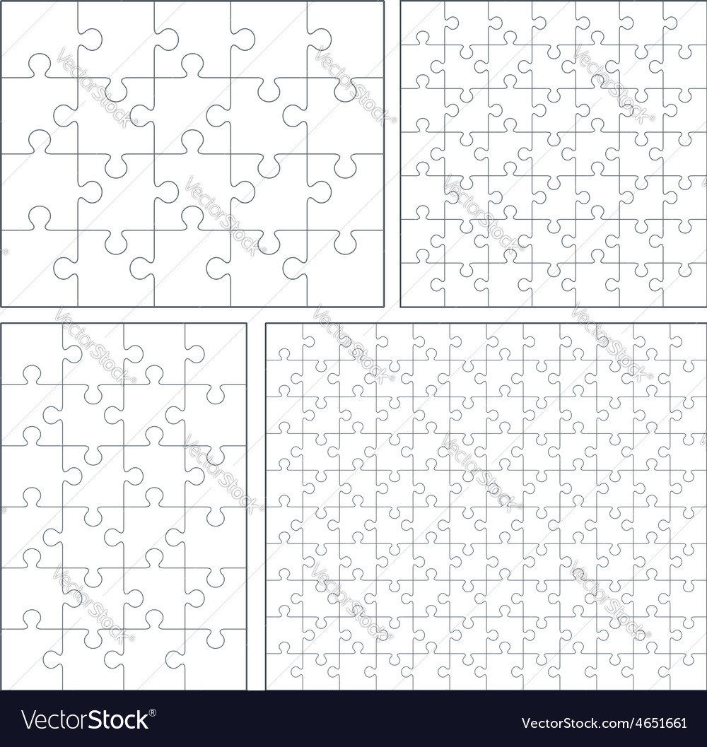 Puzzle set 20 24 49 120 pieces vector