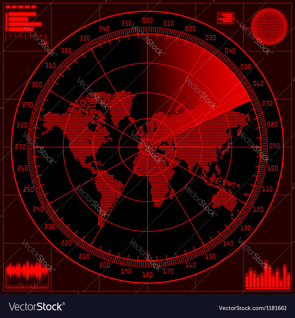 Radar screen with world map vector | Price: 3 Credit (USD $3)