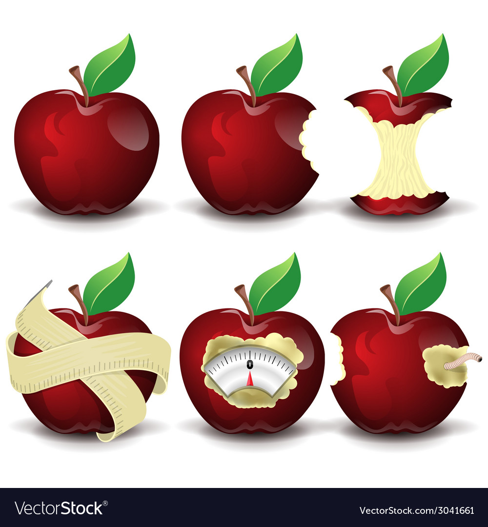Red apples collection vector | Price: 3 Credit (USD $3)
