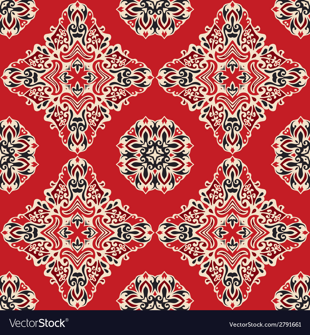 Red ethnic abstract seamless pattern vector | Price: 1 Credit (USD $1)