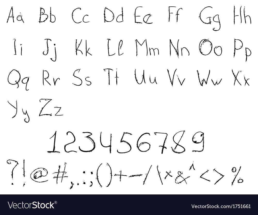 Scratched handdrawn alphabet vector | Price: 1 Credit (USD $1)