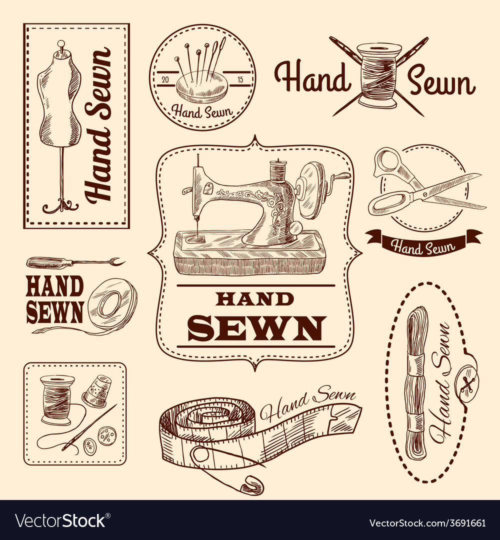 Sewing emblems set vector | Price: 1 Credit (USD $1)