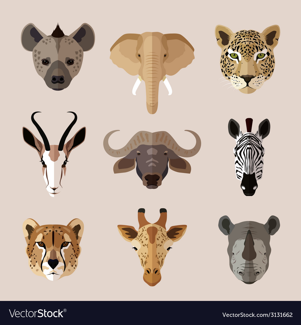 Animal portrait flat icon set vector | Price: 1 Credit (USD $1)