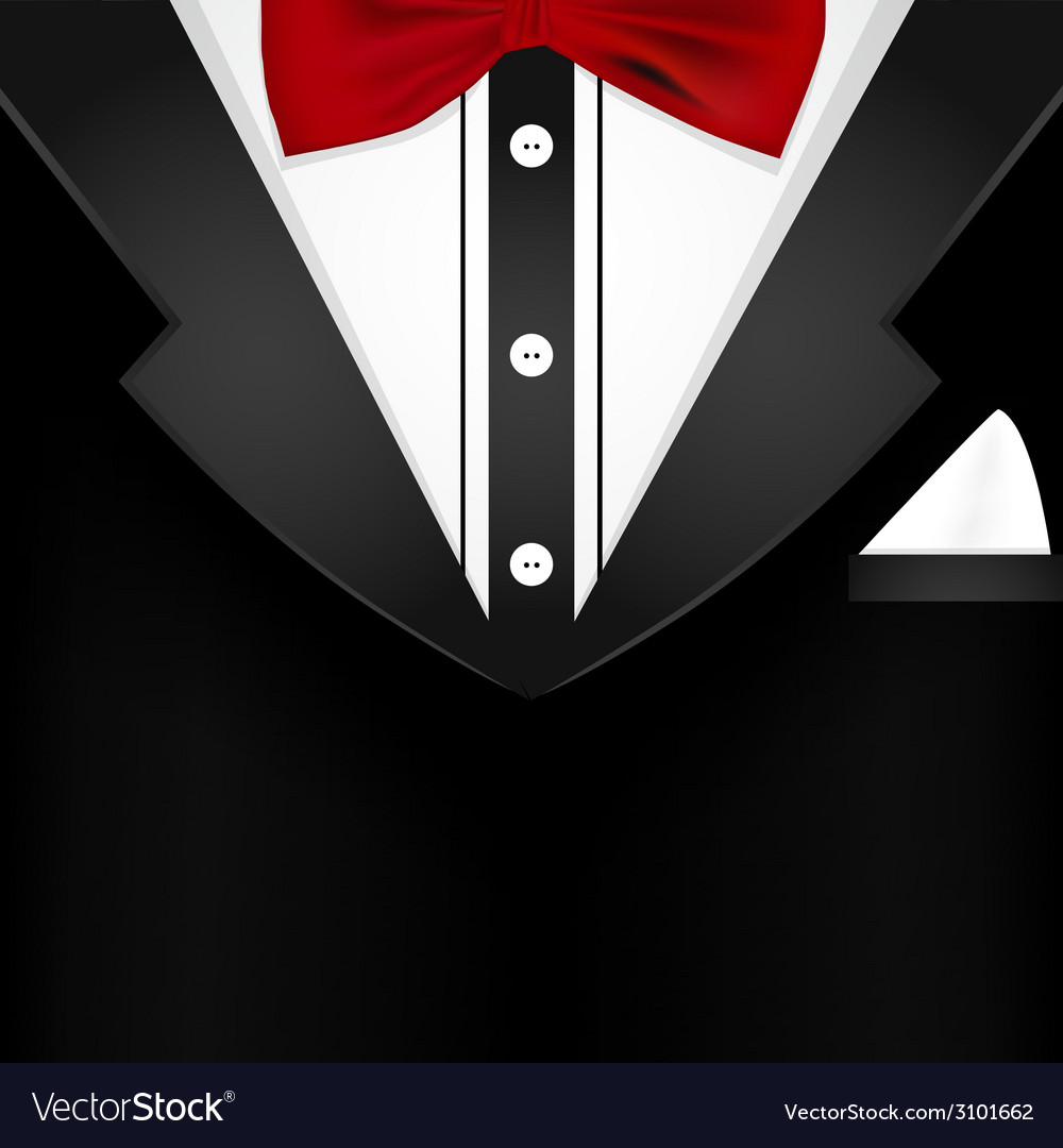 Business tuxedo background with a red bow tie vector | Price: 1 Credit (USD $1)