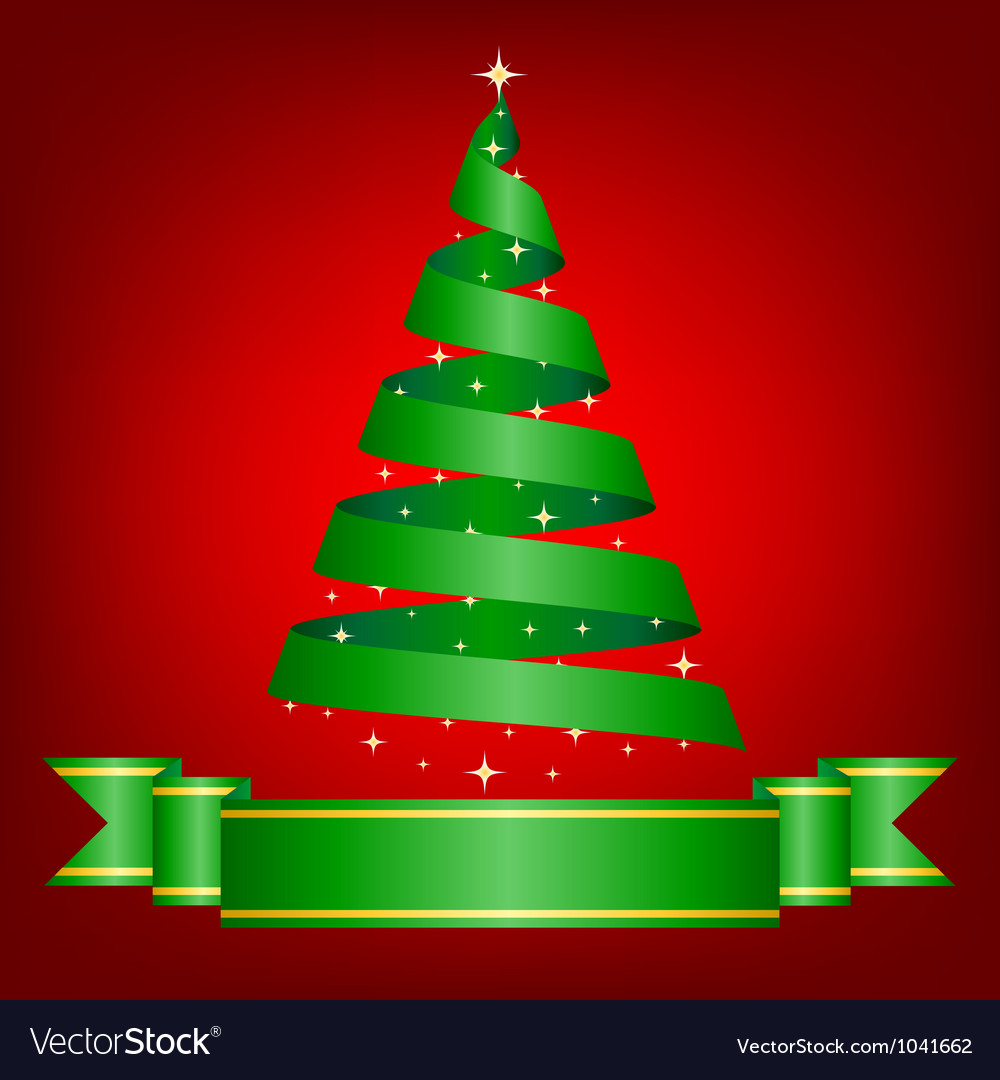 Christmas card with ribbon tree vector   Price: 1 Credit (USD $1)