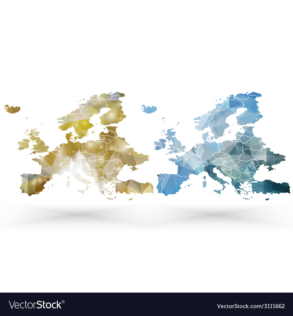 Europe map template triangle design vector | Price: 1 Credit (USD $1)