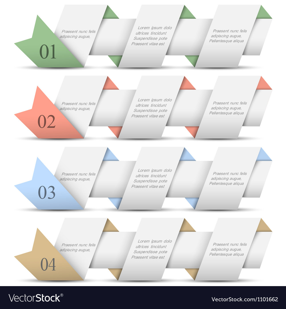 Four origami paper numbered banners vector | Price: 1 Credit (USD $1)