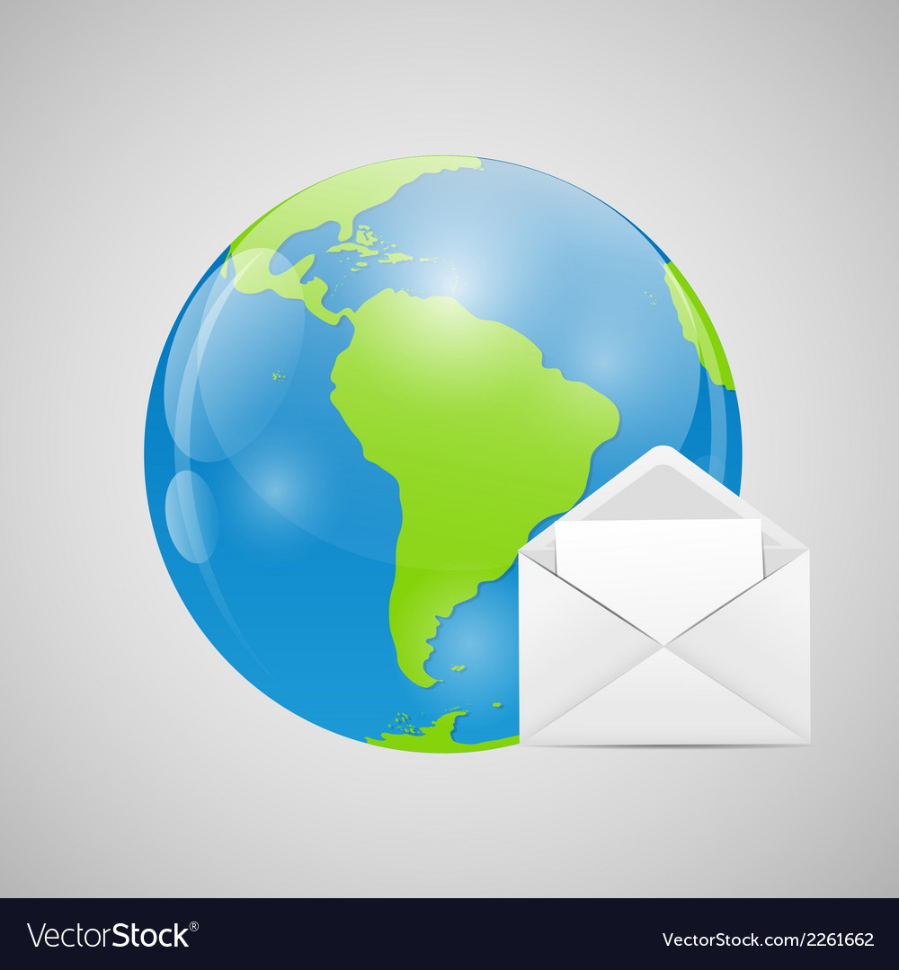 Globe with mail vector | Price: 1 Credit (USD $1)