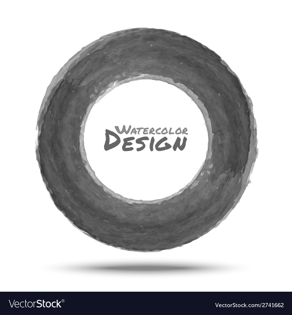 Hand drawn watercolor dark gray circle design elem vector   Price: 1 Credit (USD $1)