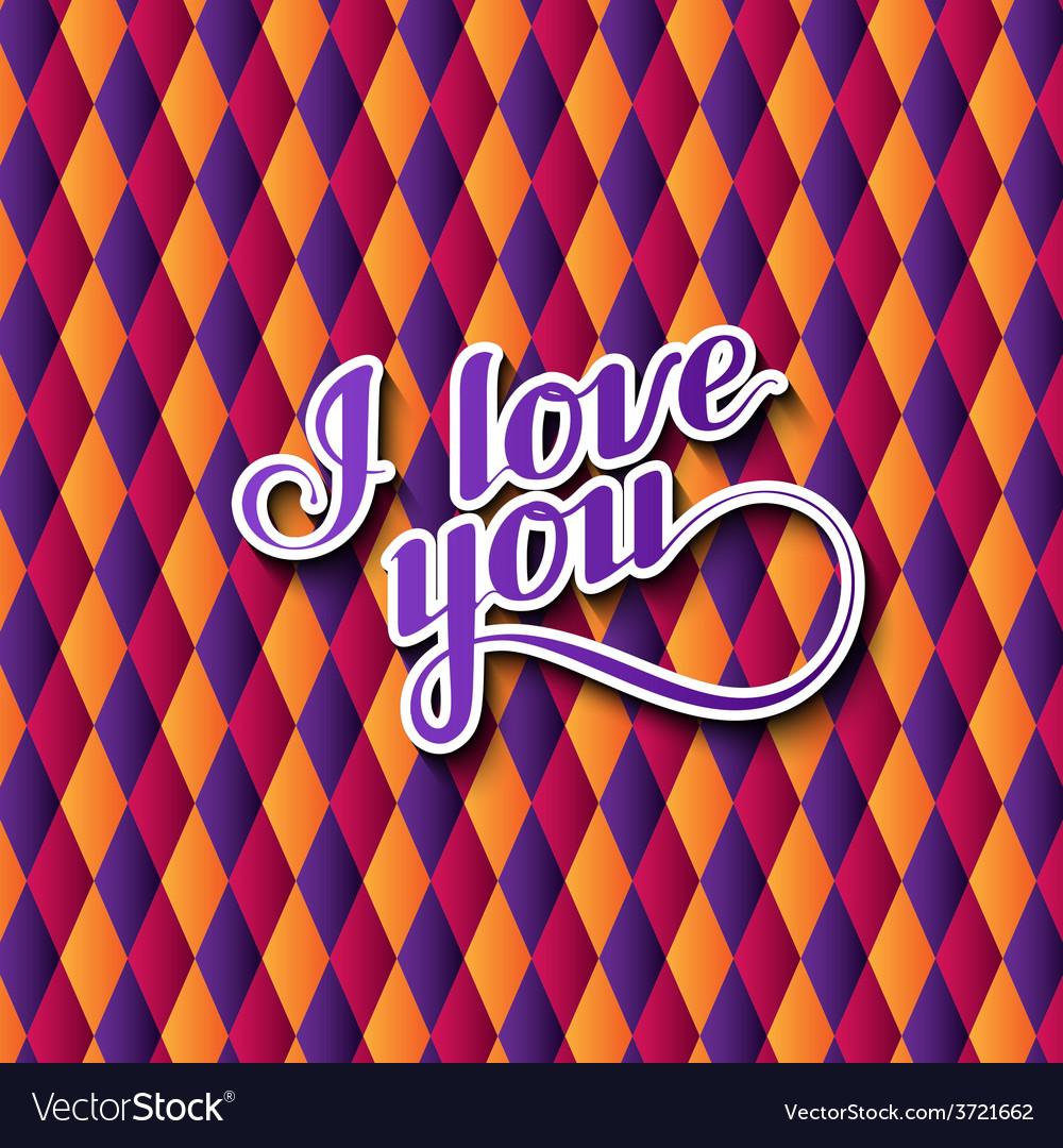 I love you retro label vector | Price: 1 Credit (USD $1)